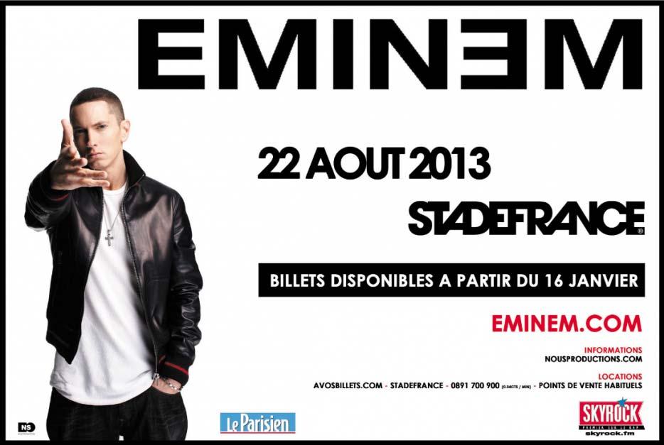 Eminem, concerto, tour, Skyrock, Francia