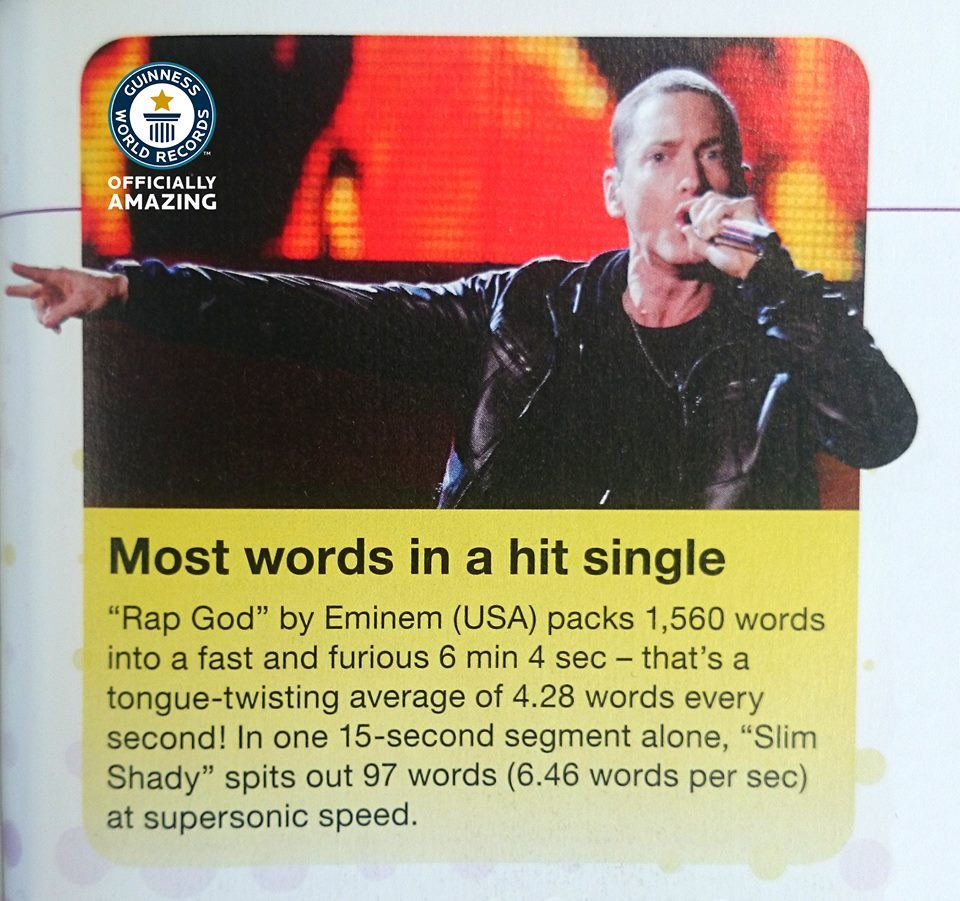 eminem record, eminem guinness world records, eminem rap god, rap god record, rap god guinness world record