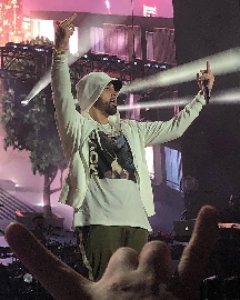 Eminem si esibisce alle Hawaii sotto la pioggia tropicale